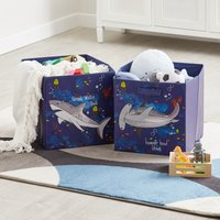 Image of Sharks Twin Pack Storage Boxes Blue Orange and Yellow