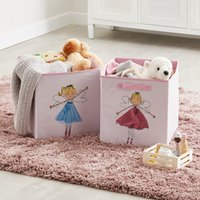 Image of Fairies Twin Pack Storage Boxes Blue Yellow and Pink